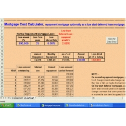 Mortgage Cost Calculator custom in Excel
